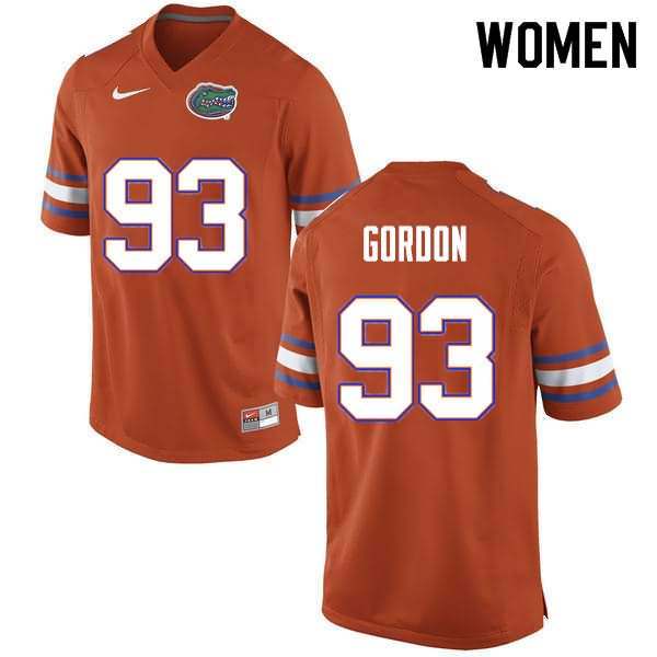 Women's Florida Gators #93 Moses Gordon Orange Nike NCAA College Football Jersey RJB286GJ