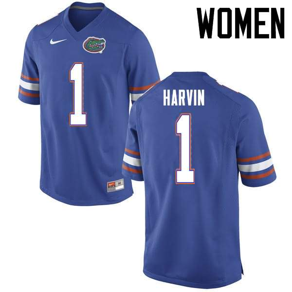 Women's Florida Gators #1 Percy Harvin Blue Nike NCAA College Football Jersey LCK741HJ