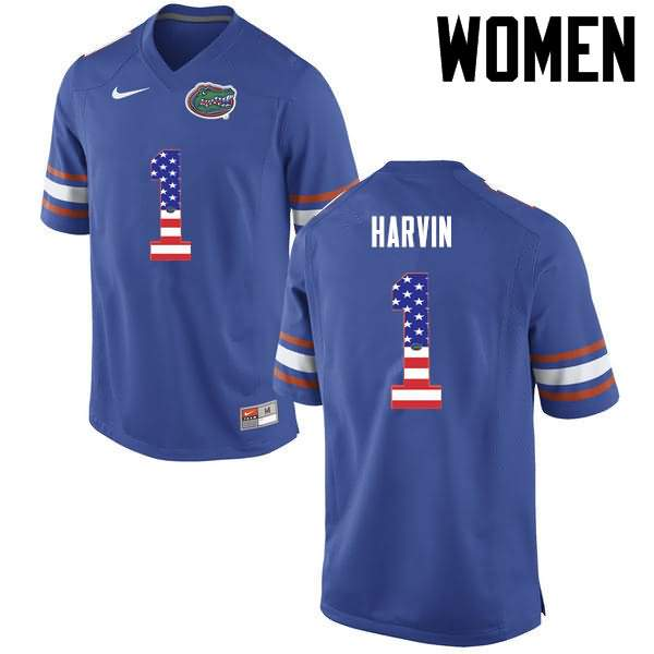 Women's Florida Gators #1 Percy Harvin USA Flag Fashion Nike NCAA College Football Jersey UIM232IJ