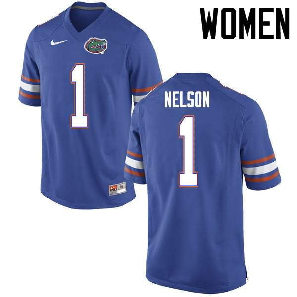 Women's Florida Gators #1 Reggie Nelson Blue Nike NCAA College Football Jersey XXU214GJ