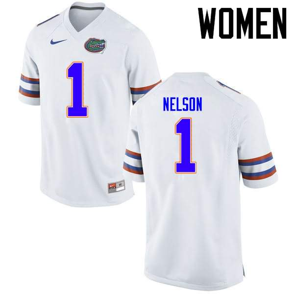 Women's Florida Gators #1 Reggie Nelson White Nike NCAA College Football Jersey XMB064GJ