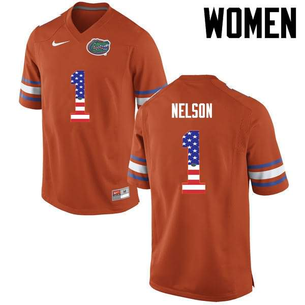 Women's Florida Gators #1 Reggie Nelson USA Flag Fashion Nike NCAA College Football Jersey WLH177BJ