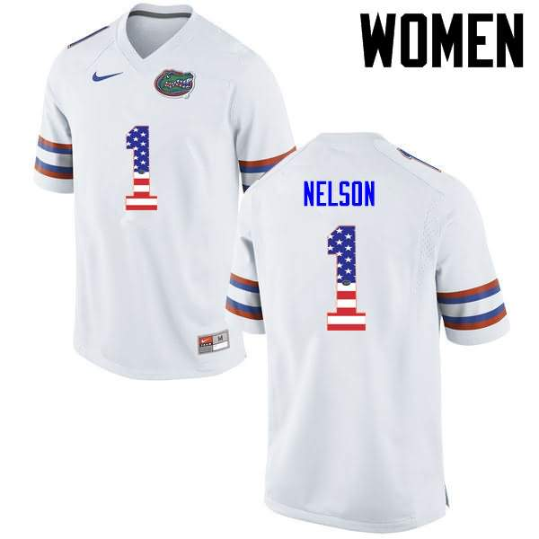 Women's Florida Gators #1 Reggie Nelson USA Flag Fashion Nike NCAA College Football Jersey TCZ714HJ