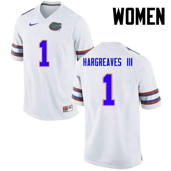 Women's Florida Gators #1 Vernon Hargreaves III White Nike NCAA College Football Jersey QAW003SJ