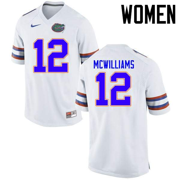 Women's Florida Gators #12 C.J. McWilliams White Nike NCAA College Football Jersey IVA821QJ