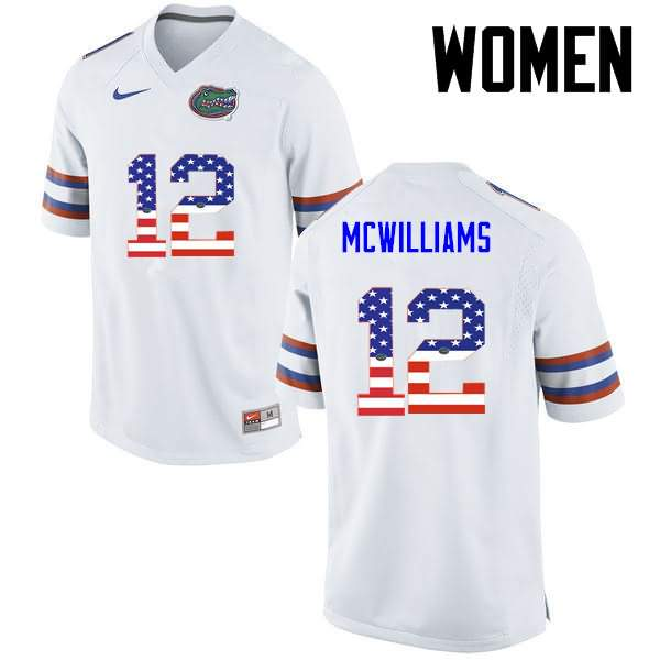 Women's Florida Gators #12 C.J. McWilliams USA Flag Fashion Nike NCAA College Football Jersey SMF426BJ