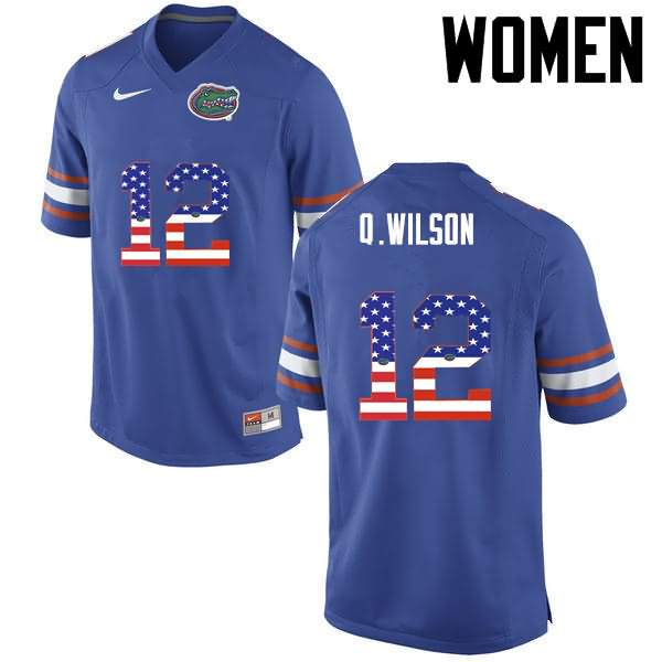 Women's Florida Gators #12 Quincy Wilson USA Flag Fashion Nike NCAA College Football Jersey SJV646KJ