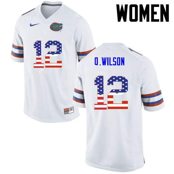 Women's Florida Gators #12 Quincy Wilson USA Flag Fashion Nike NCAA College Football Jersey CPY243ZJ