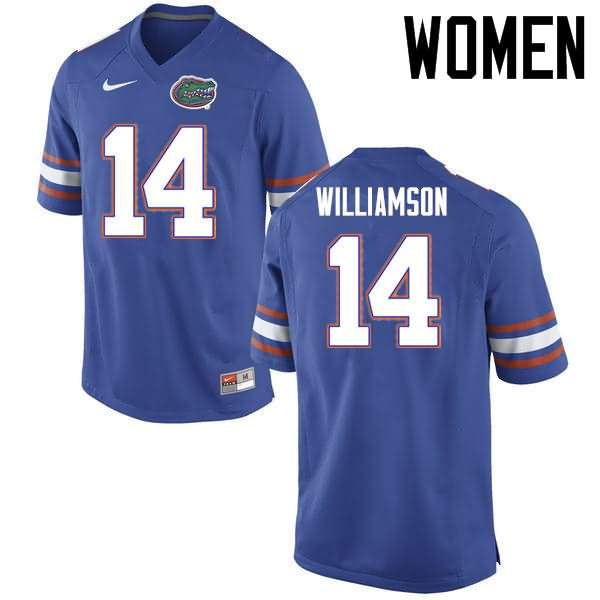 Women's Florida Gators #14 Chris Williamson Blue Nike NCAA College Football Jersey MYN216AJ