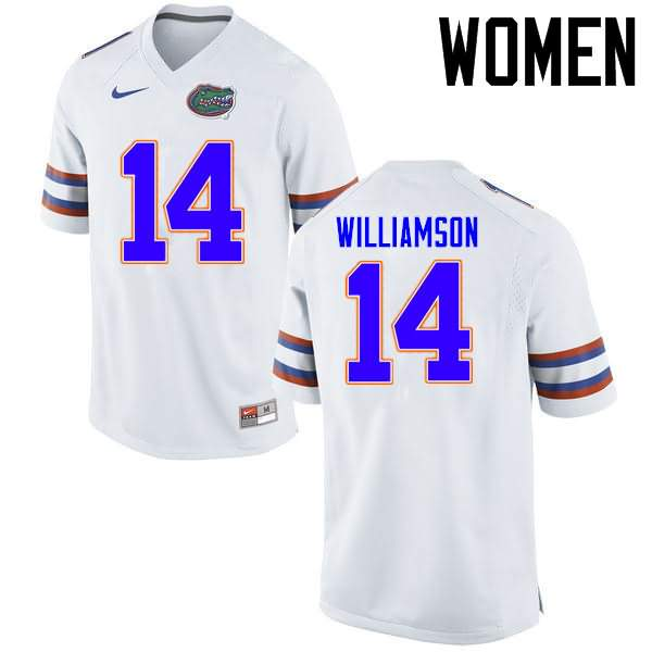 Women's Florida Gators #14 Chris Williamson White Nike NCAA College Football Jersey BIV245DJ