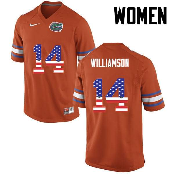 Women's Florida Gators #14 Chris Williamson USA Flag Fashion Nike NCAA College Football Jersey YEC623YJ