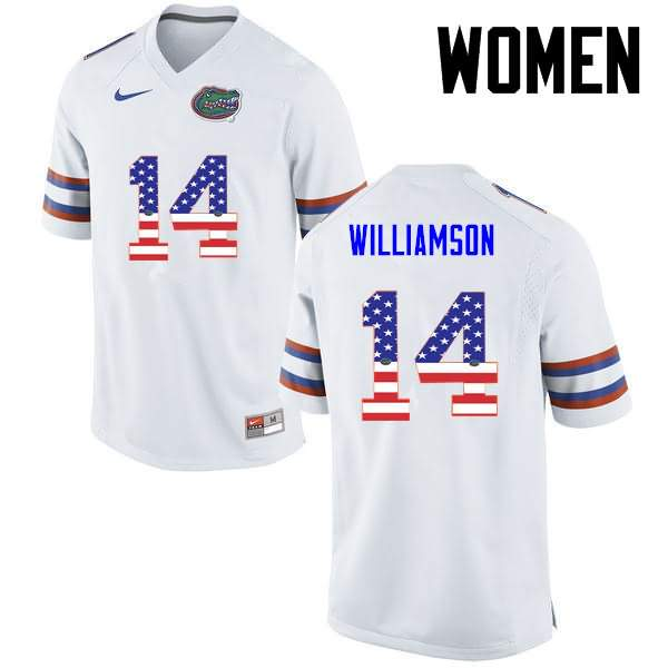 Women's Florida Gators #14 Chris Williamson USA Flag Fashion Nike NCAA College Football Jersey HJV082OJ