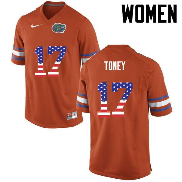 Women's Florida Gators #17 Kadarius Toney USA Flag Fashion Nike NCAA College Football Jersey DRD887QJ