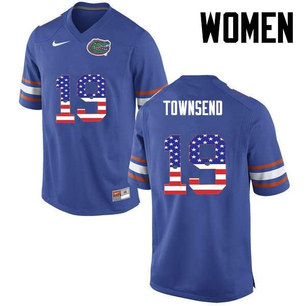 Women's Florida Gators #19 Johnny Townsend USA Flag Fashion Nike NCAA College Football Jersey NKT215SJ
