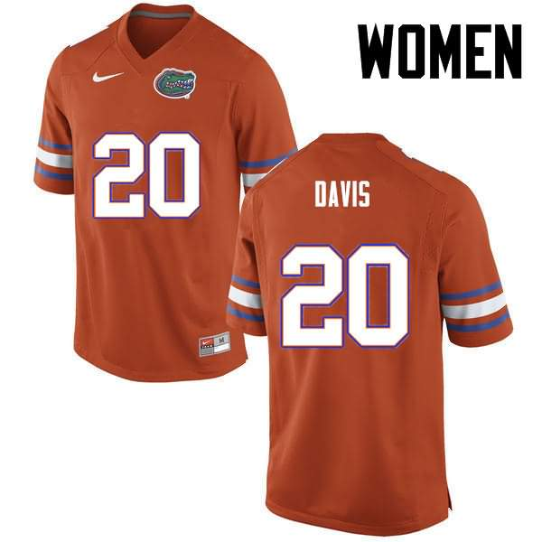Women's Florida Gators #20 Malik Davis Orange Nike NCAA College Football Jersey VMV056BJ