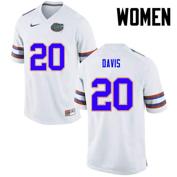 Women's Florida Gators #20 Malik Davis White Nike NCAA College Football Jersey TDM682NJ