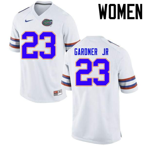 Women's Florida Gators #23 Chauncey Gardner Jr. White Nike NCAA College Football Jersey FPD121LJ