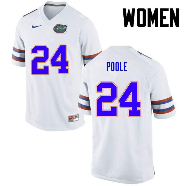 Women's Florida Gators #24 Brian Poole White Nike NCAA College Football Jersey TZH248ZJ