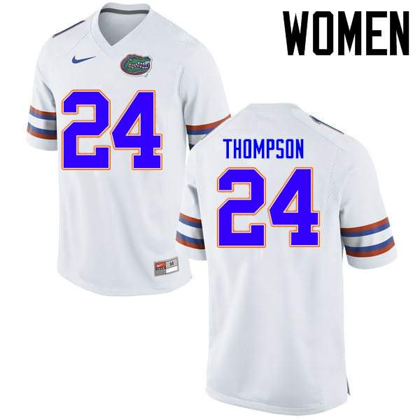 Women's Florida Gators #24 Mark Thompson White Nike NCAA College Football Jersey DHW614HJ