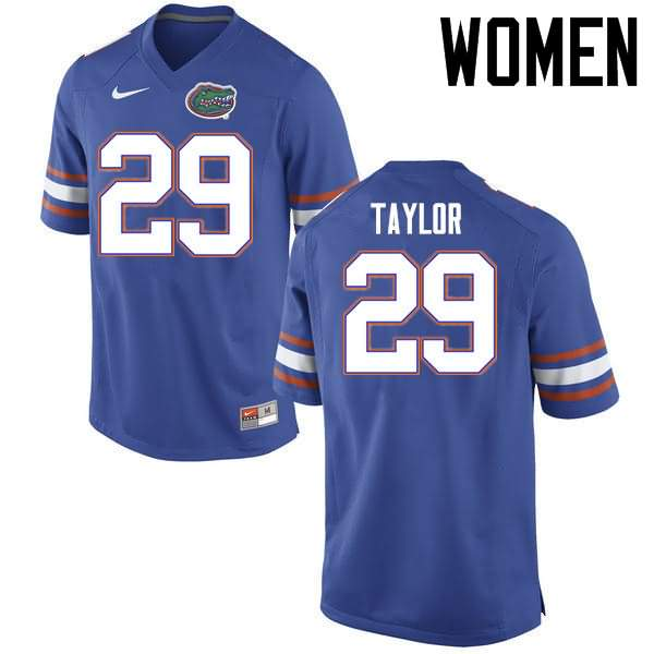 Women's Florida Gators #29 Jeawon Taylor Blue Nike NCAA College Football Jersey PAF255NJ