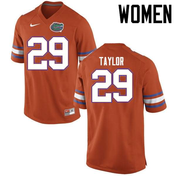 Women's Florida Gators #29 Jeawon Taylor Orange Nike NCAA College Football Jersey SVM040NJ