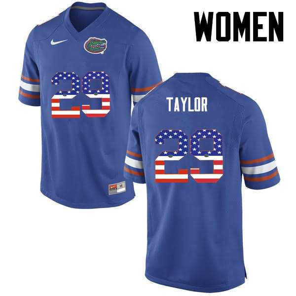 Women's Florida Gators #29 Jeawon Taylor USA Flag Fashion Nike NCAA College Football Jersey ZBU441WJ