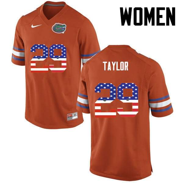 Women's Florida Gators #29 Jeawon Taylor USA Flag Fashion Nike NCAA College Football Jersey NLI753VJ