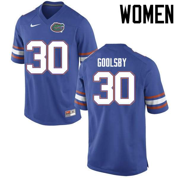Women's Florida Gators #30 DeAndre Goolsby Blue Nike NCAA College Football Jersey GEW245TJ