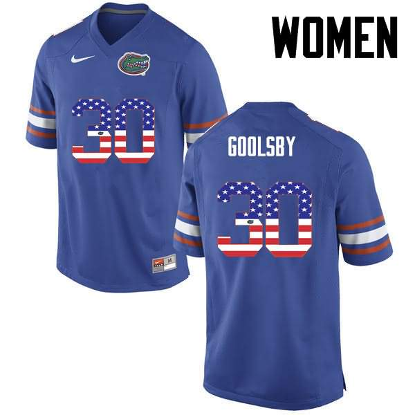 Women's Florida Gators #30 DeAndre Goolsby USA Flag Fashion Nike NCAA College Football Jersey KDQ858IJ