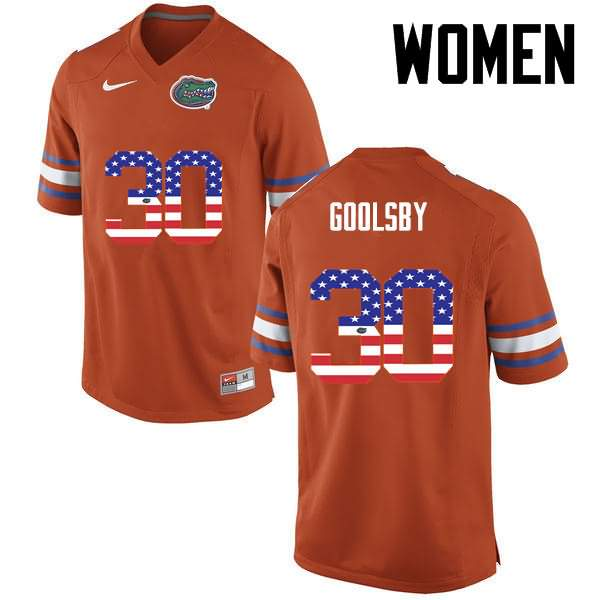 Women's Florida Gators #30 DeAndre Goolsby USA Flag Fashion Nike NCAA College Football Jersey WDQ032RJ