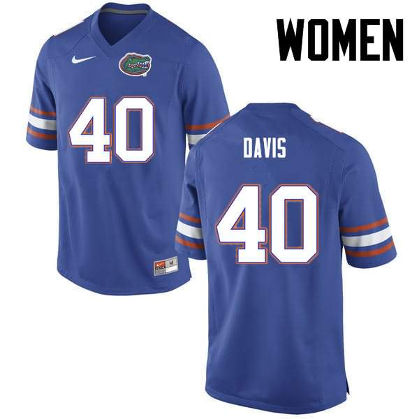 Women's Florida Gators #40 Jarrad Davis Blue Nike NCAA College Football Jersey CDZ448DJ
