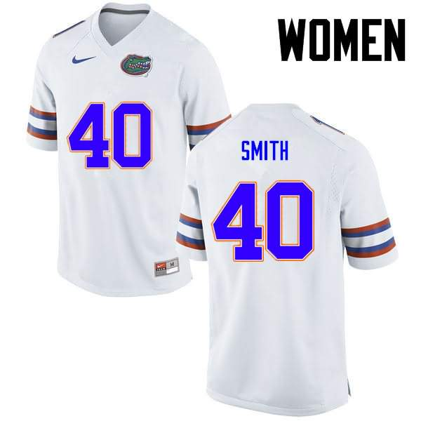 Women's Florida Gators #40 Nick Smith White Nike NCAA College Football Jersey TTL348LJ