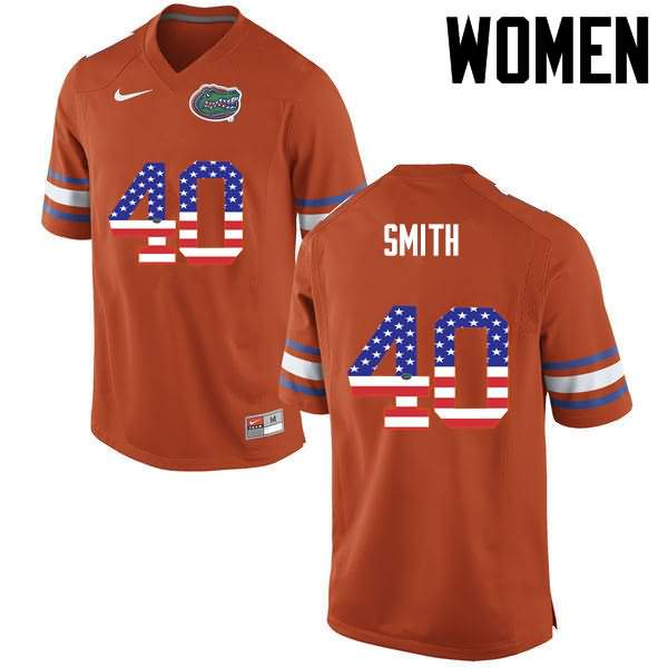 Women's Florida Gators #40 Nick Smith USA Flag Fashion Nike NCAA College Football Jersey TQN641WJ