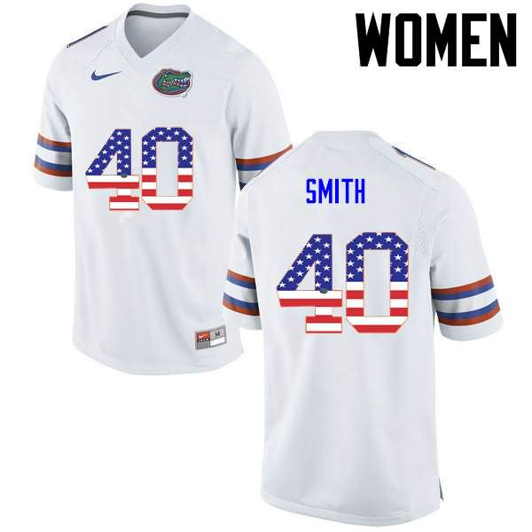 Women's Florida Gators #40 Nick Smith USA Flag Fashion Nike NCAA College Football Jersey CQK263VJ