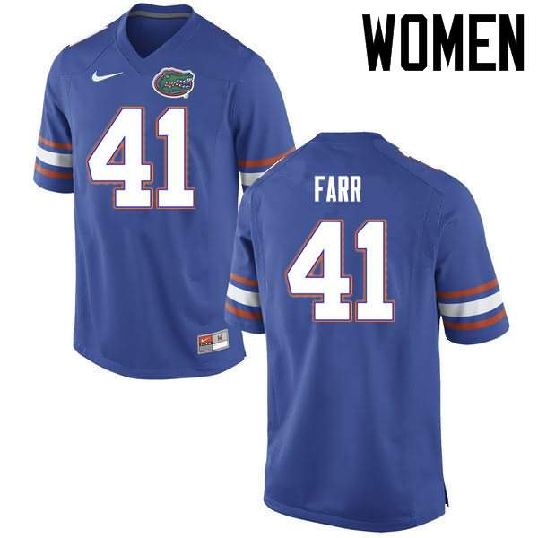 Women's Florida Gators #41 Ryan Farr Blue Nike NCAA College Football Jersey QYN861AJ