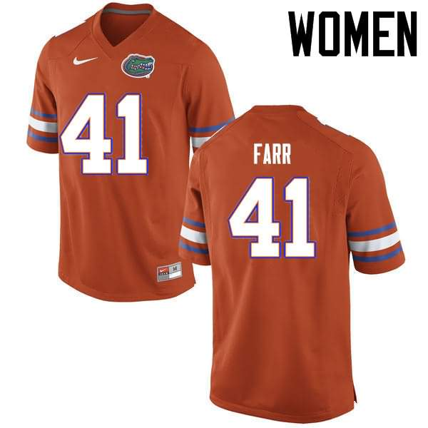 Women's Florida Gators #41 Ryan Farr Orange Nike NCAA College Football Jersey GDM043AJ