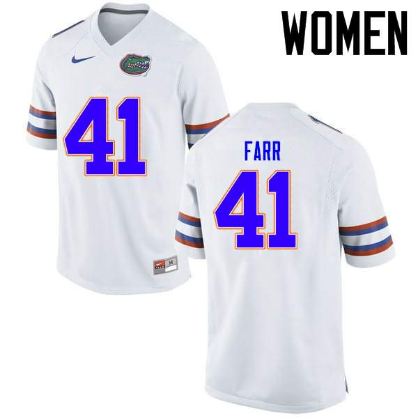 Women's Florida Gators #41 Ryan Farr White Nike NCAA College Football Jersey ZIN434KJ