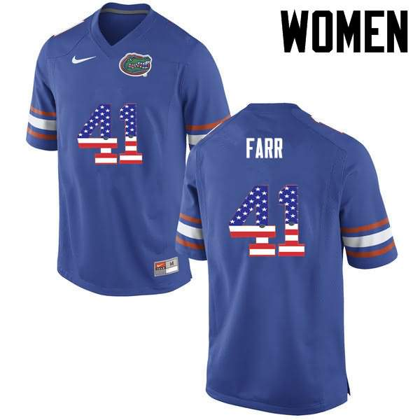 Women's Florida Gators #41 Ryan Farr USA Flag Fashion Nike NCAA College Football Jersey VEZ621VJ