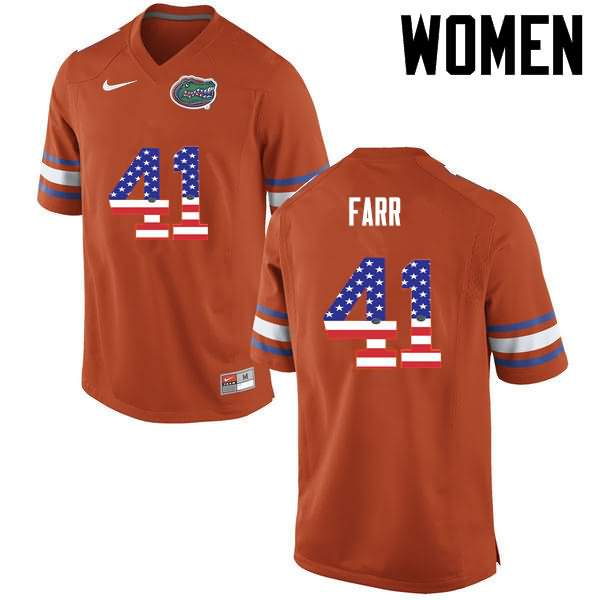 Women's Florida Gators #41 Ryan Farr USA Flag Fashion Nike NCAA College Football Jersey LMM704OJ