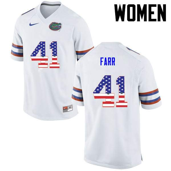 Women's Florida Gators #41 Ryan Farr USA Flag Fashion Nike NCAA College Football Jersey YTO441PJ