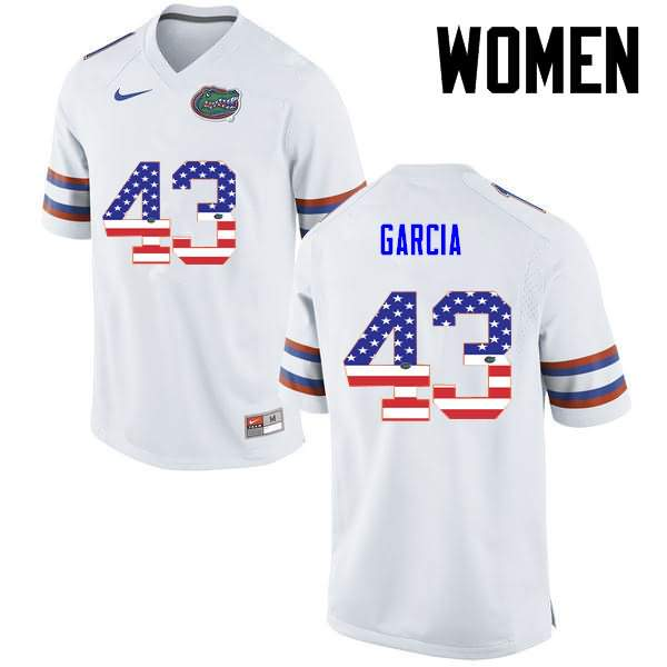 Women's Florida Gators #43 Cristian Garcia USA Flag Fashion Nike NCAA College Football Jersey BEX376EJ