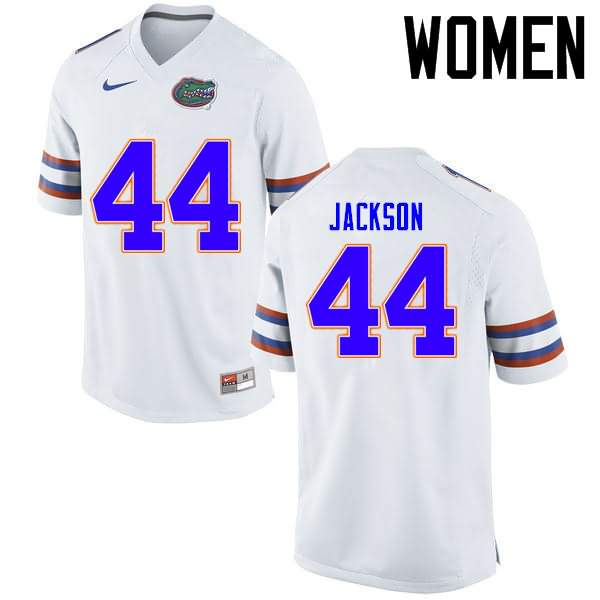 Women's Florida Gators #44 Rayshad Jackson White Nike NCAA College Football Jersey RFQ817MJ
