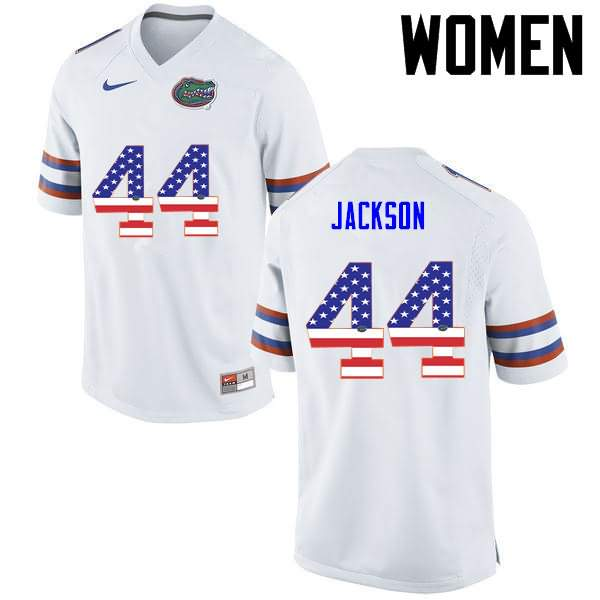 Women's Florida Gators #44 Rayshad Jackson USA Flag Fashion Nike NCAA College Football Jersey PJR434IJ