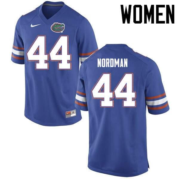 Women's Florida Gators #44 Tucker Nordman Blue Nike NCAA College Football Jersey HWE015RJ