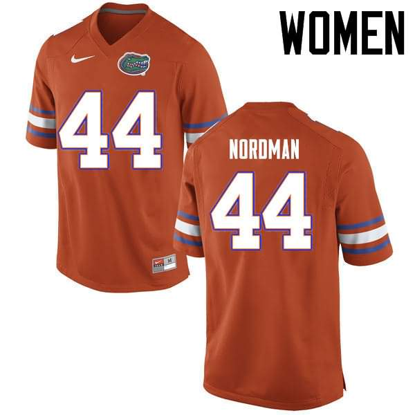 Women's Florida Gators #44 Tucker Nordman Orange Nike NCAA College Football Jersey LJH285JJ