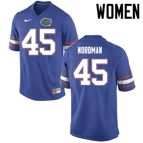Women's Florida Gators #45 Charles Nordman Blue Nike NCAA College Football Jersey LDT872YJ