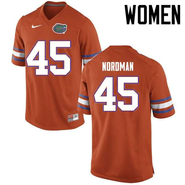 Women's Florida Gators #45 Charles Nordman Orange Nike NCAA College Football Jersey RUP668CJ