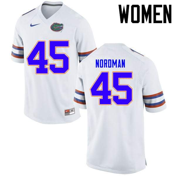 Women's Florida Gators #45 Charles Nordman White Nike NCAA College Football Jersey OWM453SJ