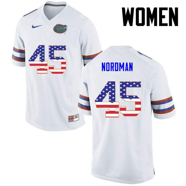 Women's Florida Gators #45 Charles Nordman USA Flag Fashion Nike NCAA College Football Jersey RGQ280ZJ