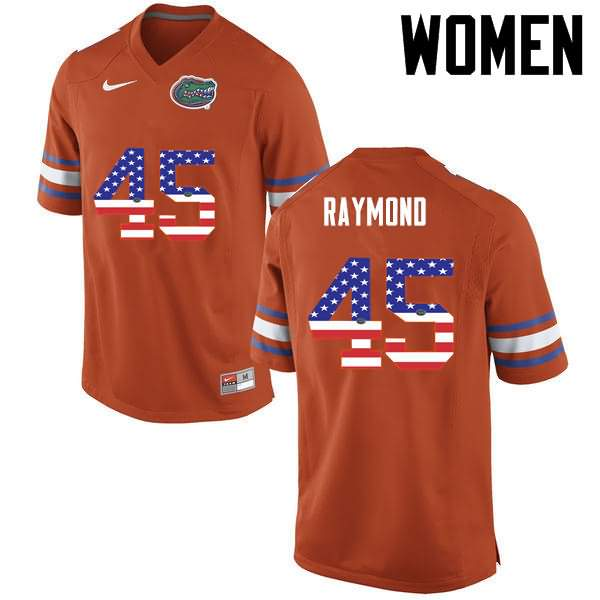 Women's Florida Gators #45 R.J. Raymond USA Flag Fashion Nike NCAA College Football Jersey ZWM601UJ